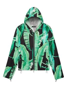 Banana leaves hooded parka jacket