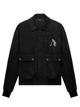 Floral logo jacket black