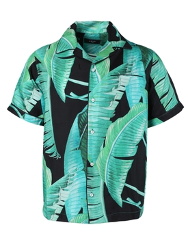 Banana leaves silk pajama shirt BLACK