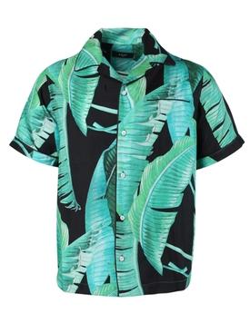 Banana leaves silk pajama shirt BLACK