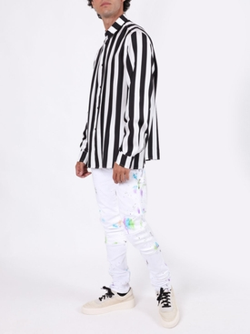 Striped button-up shirt BLACK & WHITE