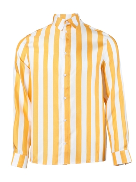 Striped button-up shirt YELLOW/WHITE