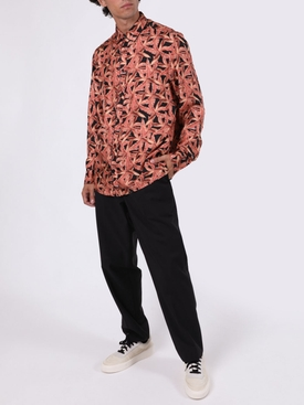 Small banana leaves long-sleeve pajama shirt PINK/BLACK