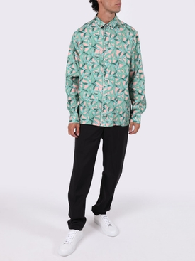 Small banana leaves long-sleeve pajama shirt GREEN/PEACH