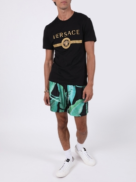 Banana Leaves Print Shorts BLACK