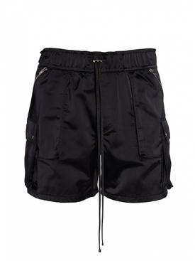 Black Cargo Drawstring Shorts