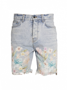 Floral Leaf Denim Shorts