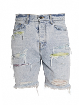 Watercolor Patch Thrasher Shorts SKY INDIGO