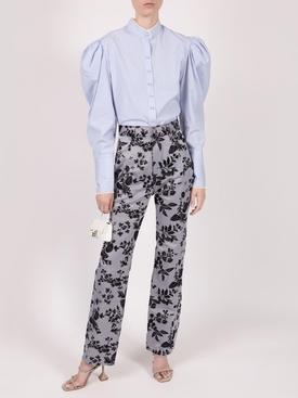 Floral Denim Pants, Blue