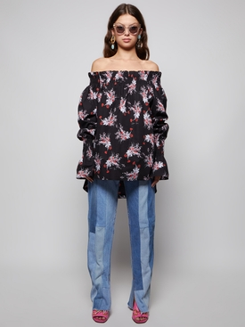 FLORAL PRINT OFF THE SHOULDER TOP POPPY AND BLACK