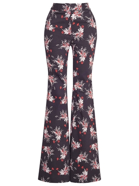 FLARED FLORAL PRINT PANT POPPY RED AND BLACK