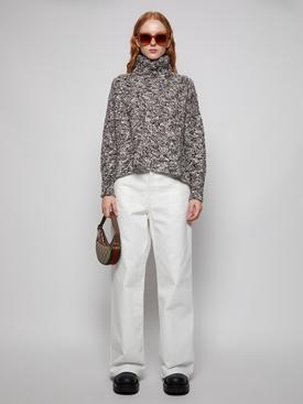 Wool Boucle Turtleneck Sweater Chocolate Brown