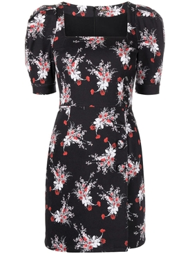 FLORAL PUFF SLEEVE MINI DRESS BLACK AND POPPY RED