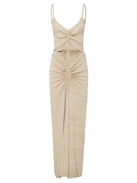 RUCHED DISCONNECT KNIT CAMI DRESS TAN MARLE