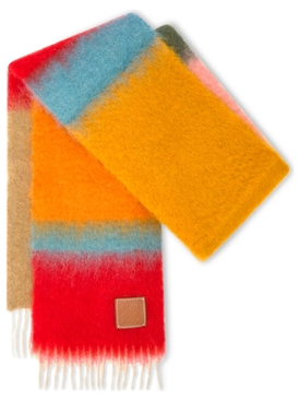 MOHAIR WOOL STRIPED SCARF Pink and Orange