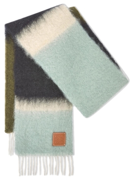 MOHAIR WOOL STRIPED SCARF Light Blue and Dark Green