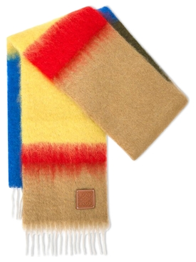 MOHAIR WOOL STRIPED SCARF Camel and Blue