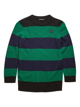 Kids Black and Green Striped Knit Top