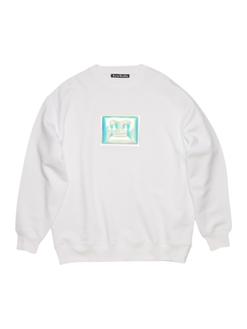 Metallic logo graphic jumper OPTIC WHITE