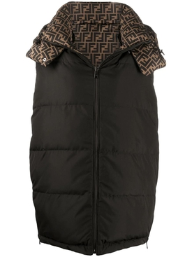 Black and brown FF logo gilet down vest