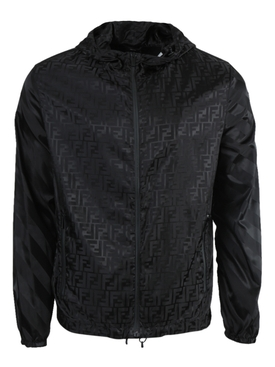 Fendi - Black Tonal Logo Windbreaker Jacket - Men