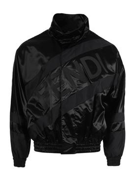 Tonal logo track jacket, Black