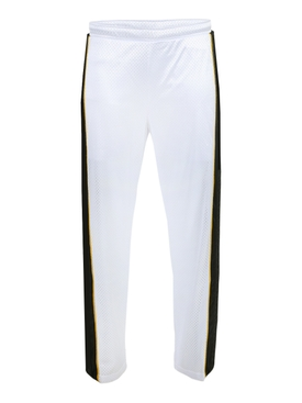 White and black stripe active mesh pants