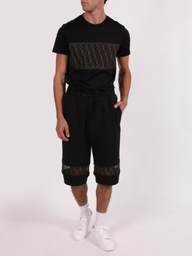 Mesh Logo Detail Long Shorts BLACK