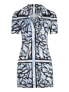 X Joshua Vides Sky flowers print mini dress