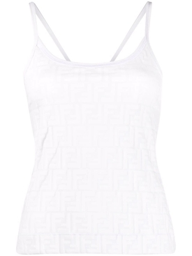 FENDIRAMA EMBOSSED TANK TOP, Milk White