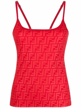 FENDIRAMA EMBOSSED TANK TOP, Cancer Red