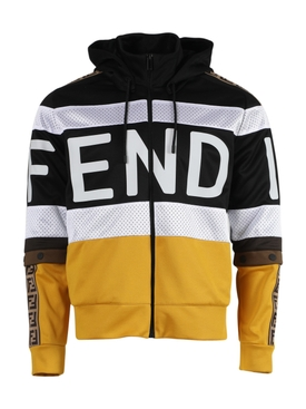 Black and yellow hooded jacket