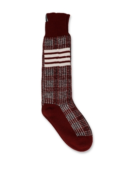 Wool Merino Check Print 4-bar socks dark red