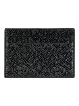 PEBBLED LEATHER DOUBLE SIDED CARD HOLDER, BLACK