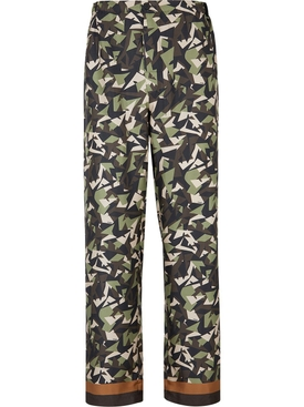 Multi-tonal forest green silk pants