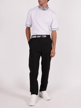 Black logo tape pants