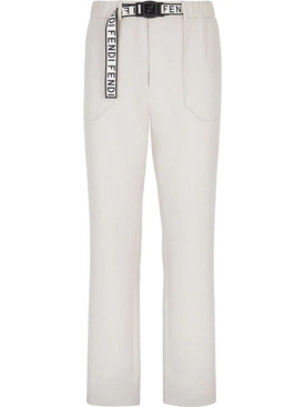 White logo tape pants
