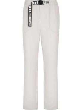 White logo tape pants
