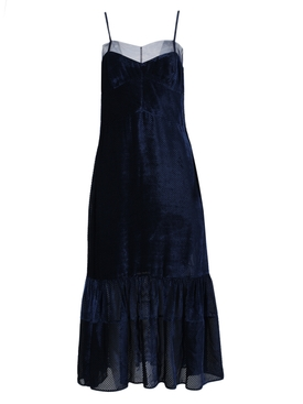 Blue silk corduroy dress