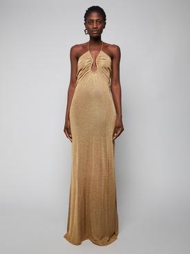 metallic U-neck ruched dress