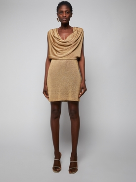 gold metallic draped neckline mini dress
