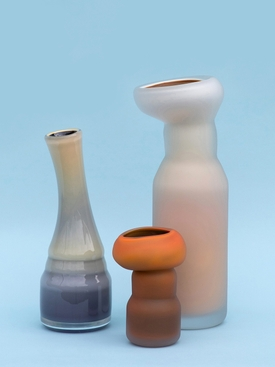 FUNGUS VASE, SHAPE 1 MATTE ORANGE & BLACK