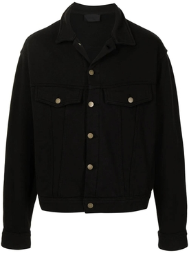 French Terry Trucker Jacket, Black