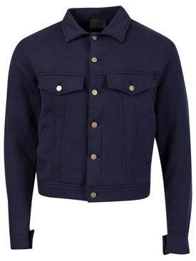 French Terry Trucker Jacket Navy Blue