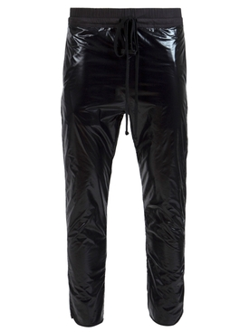 Patent Gloss Effect Track Pants, Black