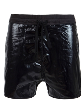 Patent Gloss Effect Track Shorts, Black