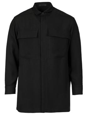 Classic Crepe Button Up Shirt Black