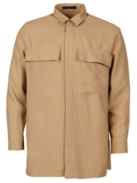 Classic Crepe Button Up Shirt Camel