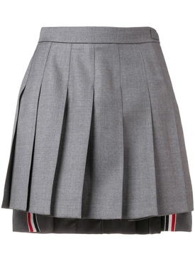 Grey Wool Dropped Back Mini Pleated Skirt