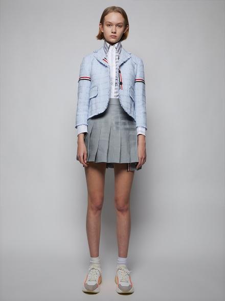 Thom Browne Wool Pleated Mini Skirt, Light Grey